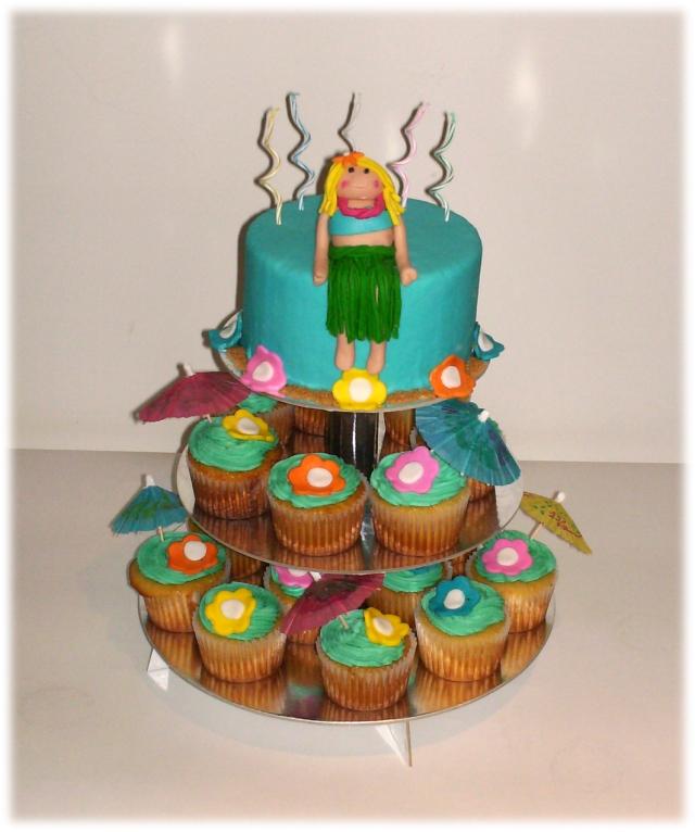 Et De Torta Y Cupcakes Hawaiianos  Hechos Para Unos Quince A  Os