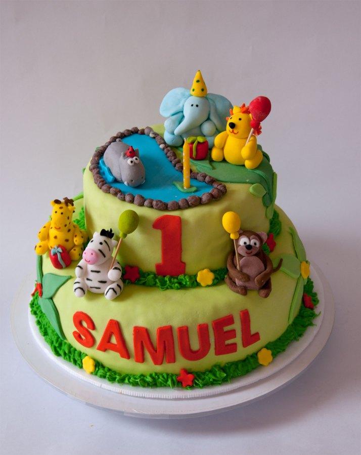 animales selva torta y cupcakes selva