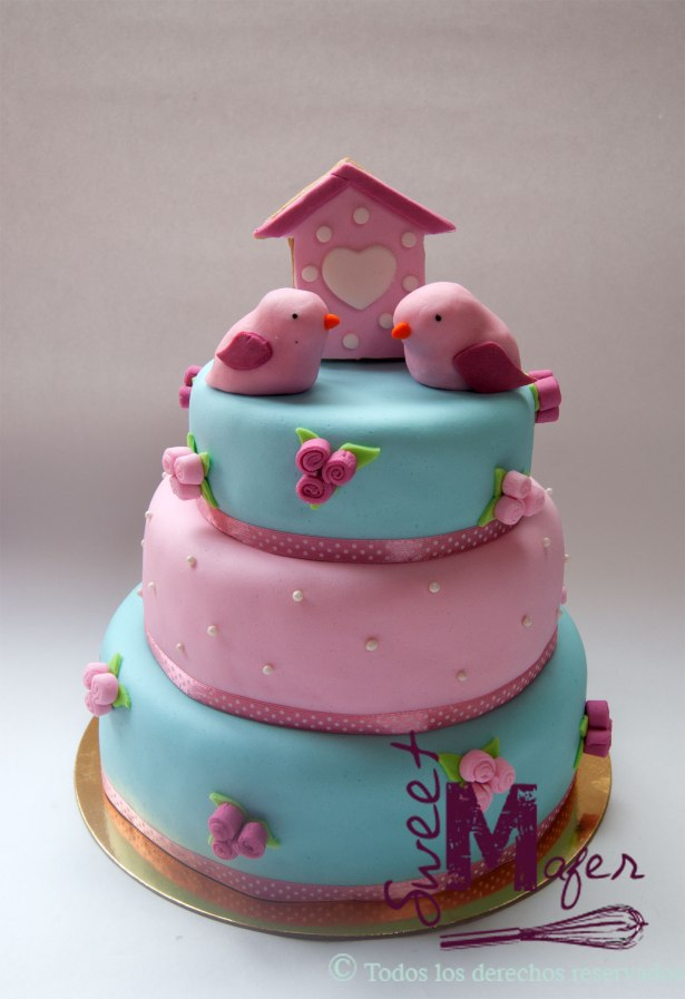 torta-bautizo-flores-y-pajaros