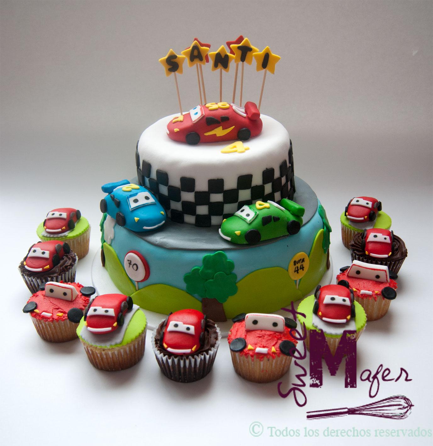 Torta Y Cups Cars Santi