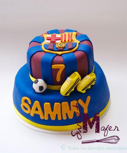 Esta fue una torta culé, del Barcelona, que hicimos en Sweet Mafer para Sammy.
