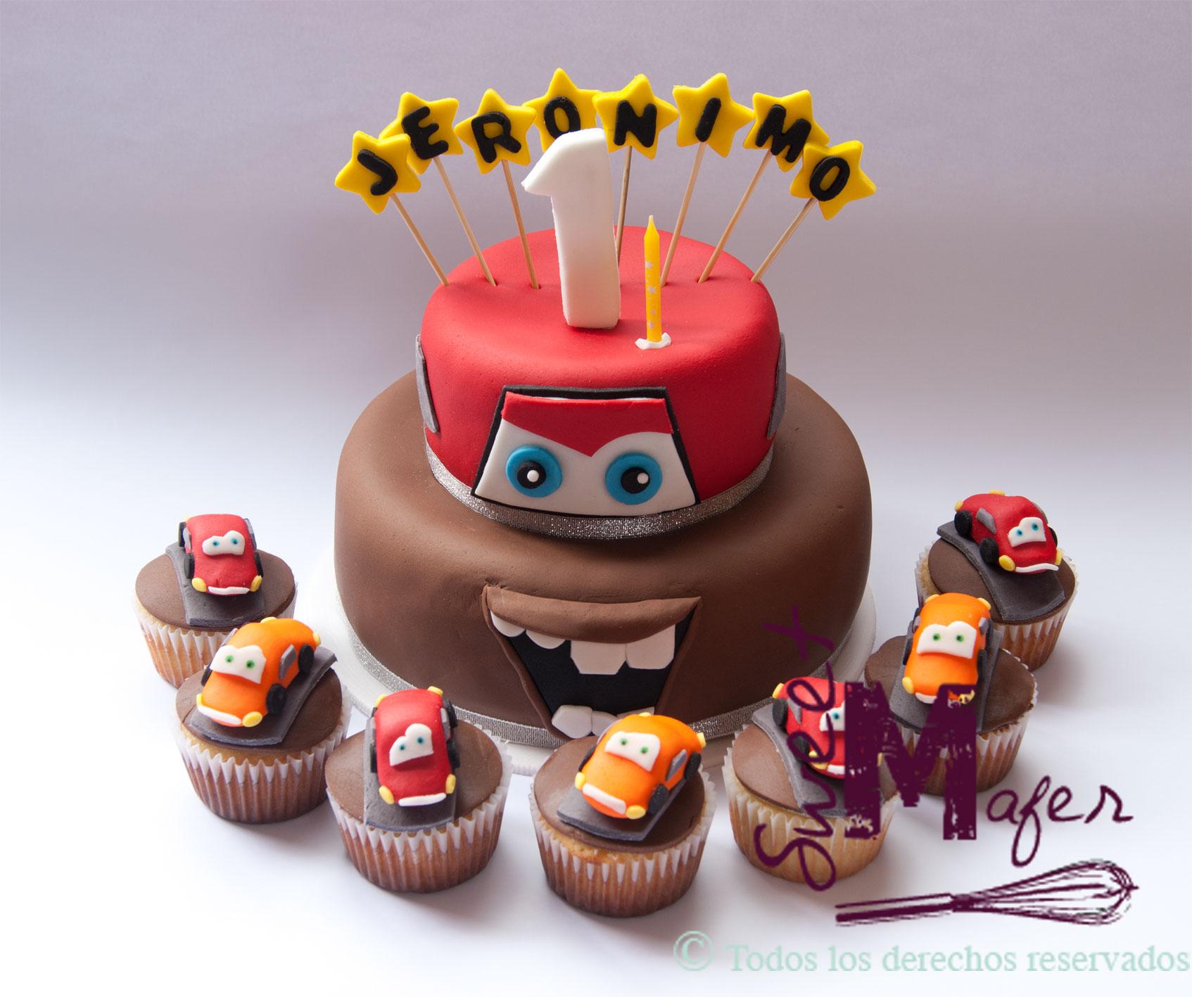 Torta Y Cups Cars Mate Y Rayo