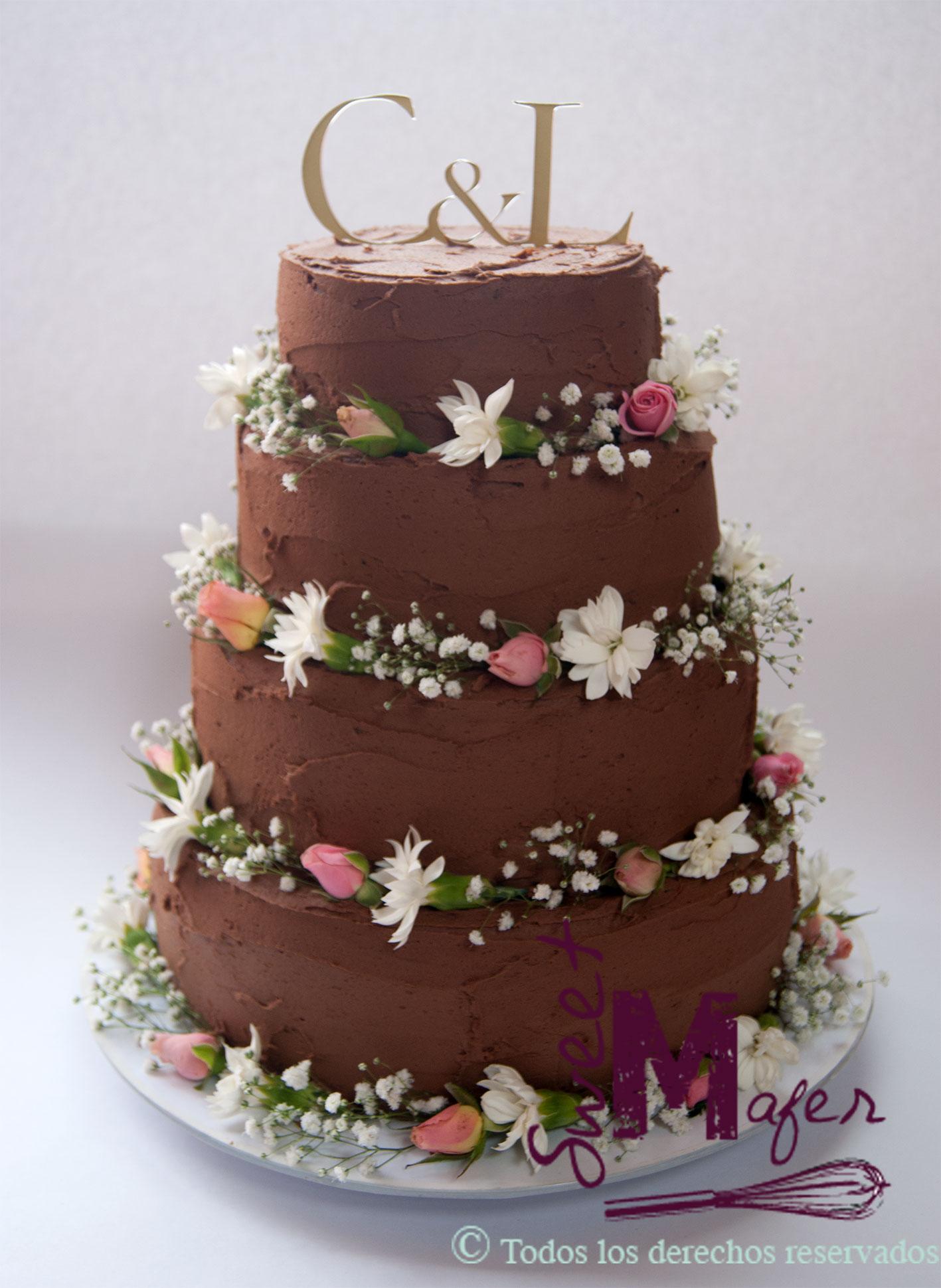 Tortas Para Matrimonio Rustico : Torta boda chocolate rustica