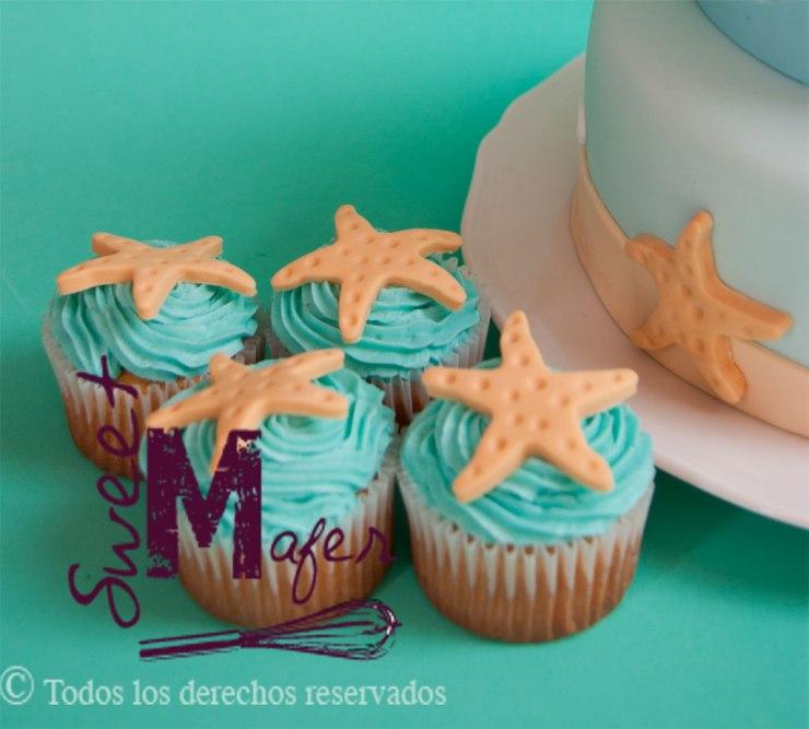 Cupcakes de estrellas de mar de sweet mafer