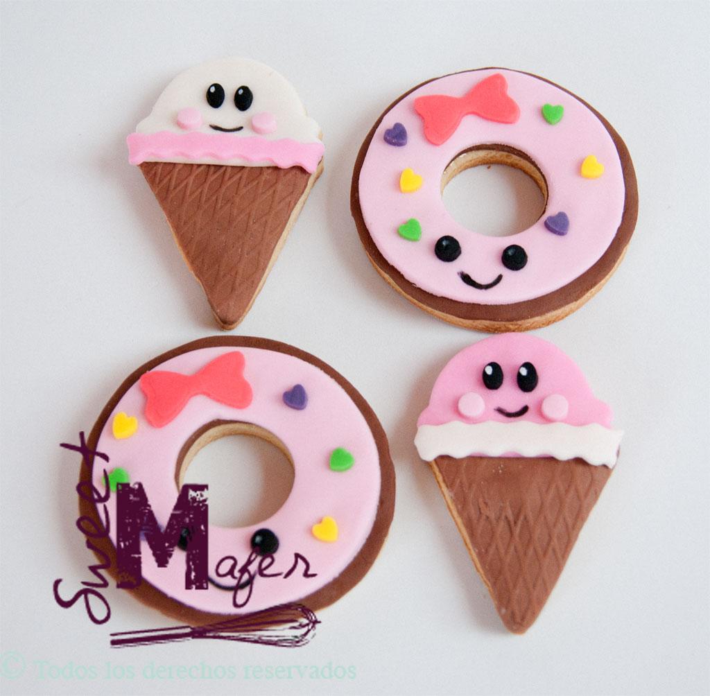 galletas kawaii de conos y donuts de sweet mafer