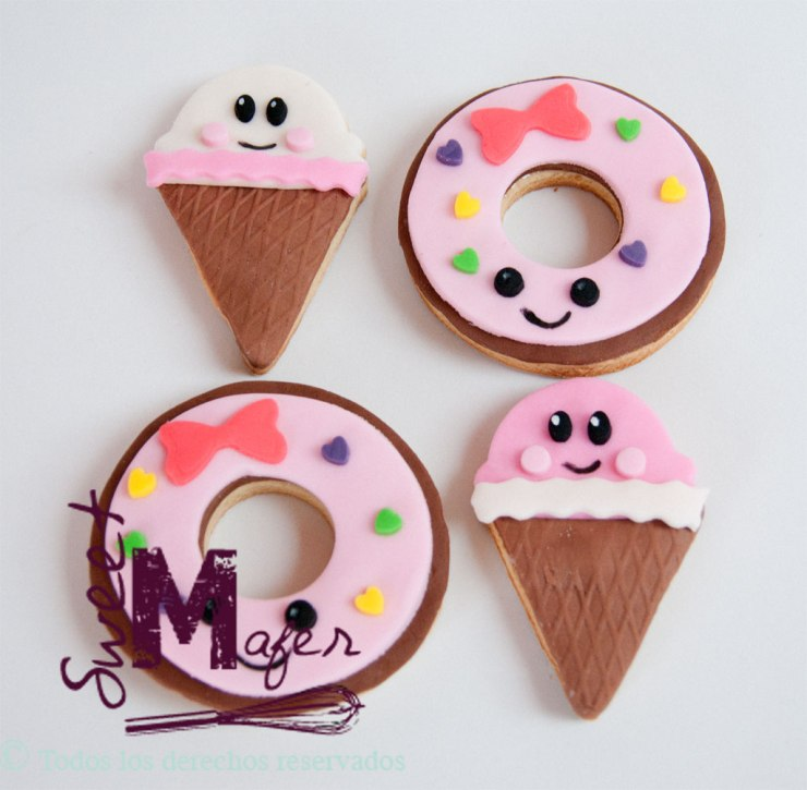 galletas kawaii de conos y donuts de sweet mafer