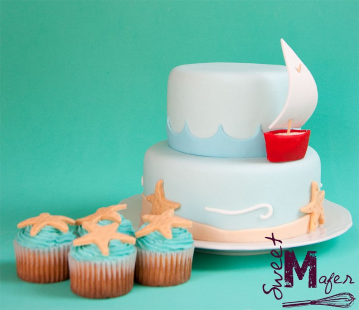 Torta y cupcakes marinos