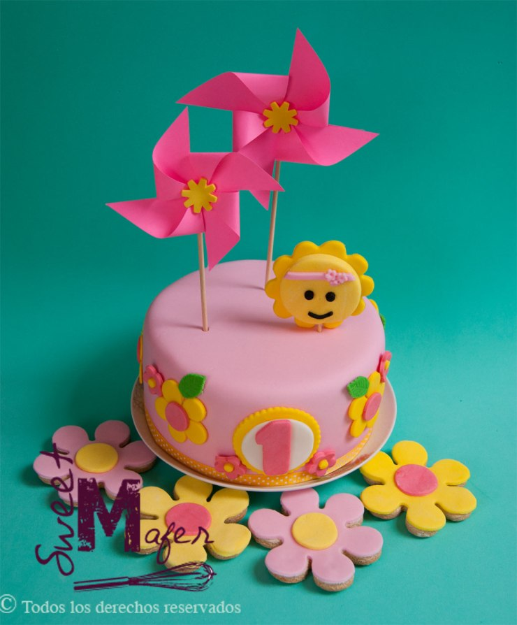set-torta-y-galletas-sol-y-flores