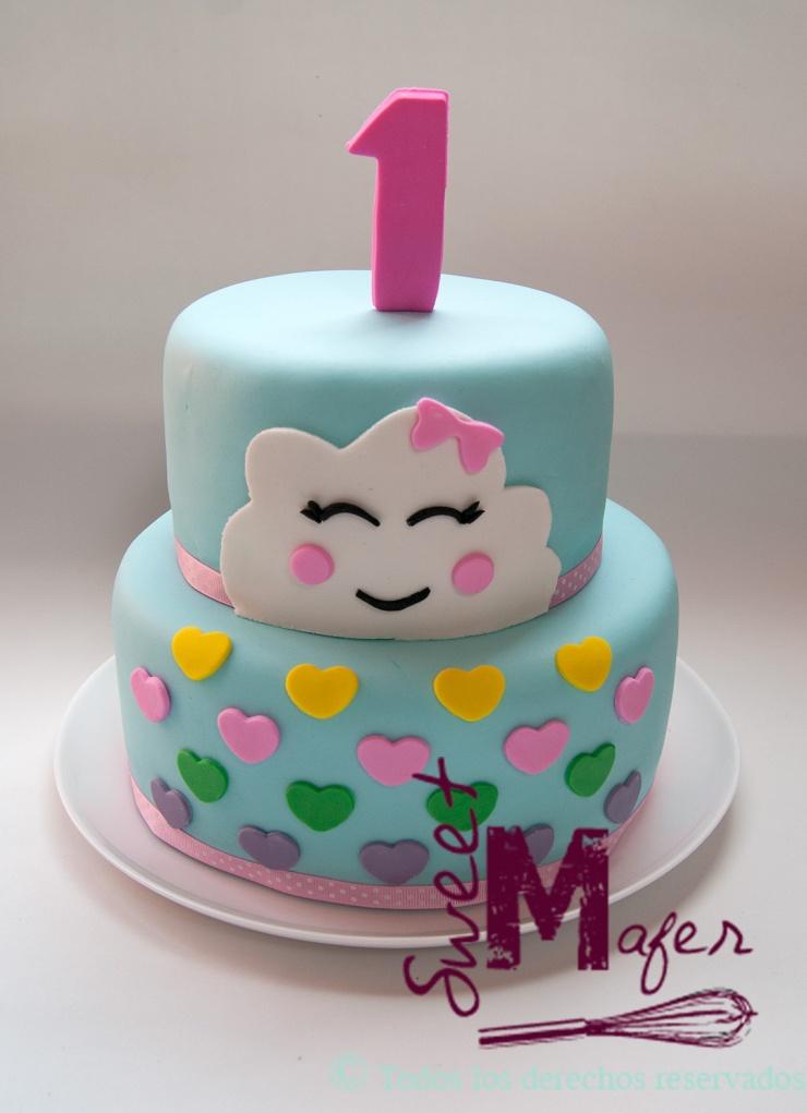 218e3748bca20 Torta y cupcakes nubes kawaii