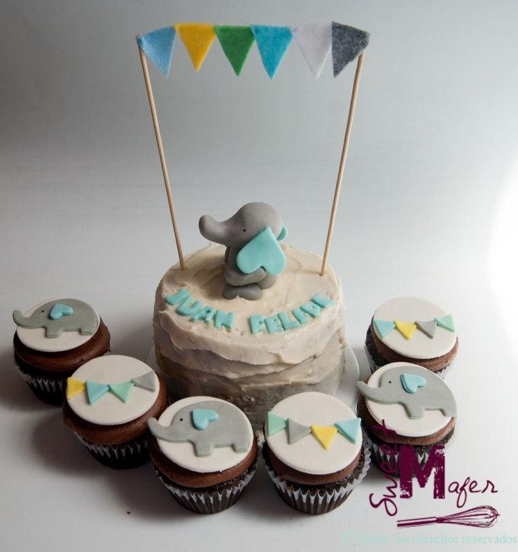 Torta y cupcakes elefante